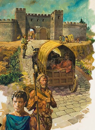 Cart entering walled town in Roman Britain.
