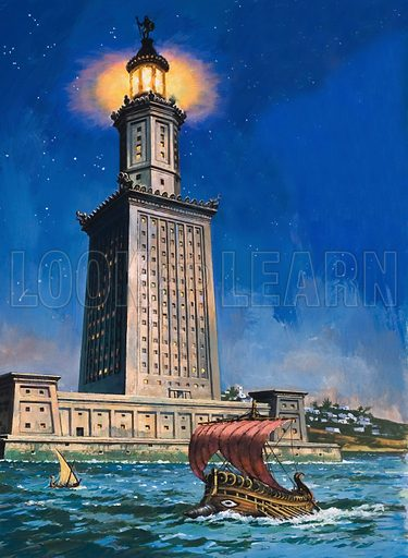 Pharos of Alexandria, Egypt, one of the Seven Wonders of the Ancient World.