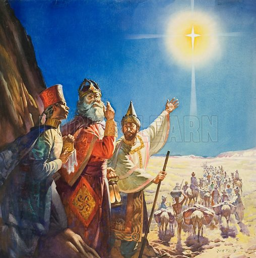 "The Three Wise Men following the Star of Bethlehem guiding them to the birthplace of Jesus Christ. ""When they saw the star, they rejoiced with exceeding great joy"" (Mathew 2:10).  Original artwork for cover of The Bible Story issue no 1 (7 March 1964)."
