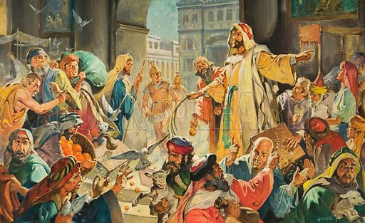 Christ Removing the Money Lenders from the Temple. Original artwork for illustration in The Bible Story (issue yet to be identified).