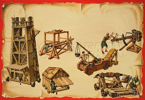 Roman siege engines. Original artwork for illustration in Look and Learn (issue yet to be identified).