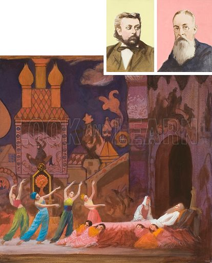 The Golden Cockerel.  This was Rimsky Korsakov's (right portrait) last opera, which ran into censorship problems.  The left portrait is of another Russian, Modeste Mussorgsky.  Original artwork for illustration on p15 of Look and Learn issue no 319 (24 February 1968).