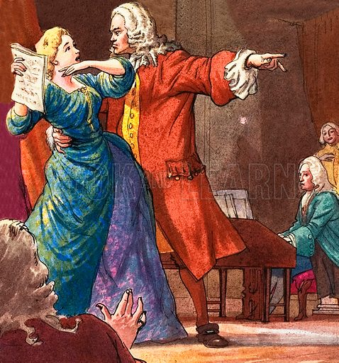 Handel is shown seeking to control a temperamental opera singer.