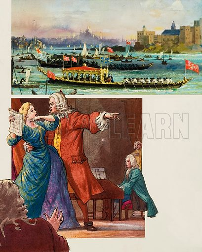Handel, who composed Water Music and is shown here seeking to control a temperamental opera singer.  Original artwork for illustration on p23 of Look and Learn issue no 1031 (12 December 1981).