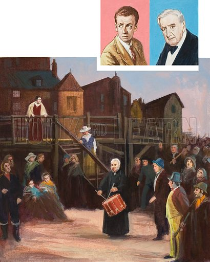 Benjamin Britten's Peter Grimes.  Portraits show Britten (left) and Ralph Vaughan Williams (right).  Original artwork for illustration on p15 of Look and Learn issue no 322 (16 March 1968).