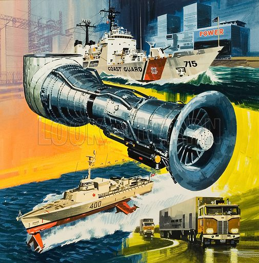 Jet Engines that do not Fly.  Original artwork for cover of Look and Learn issue no 488 (22 May 1971).