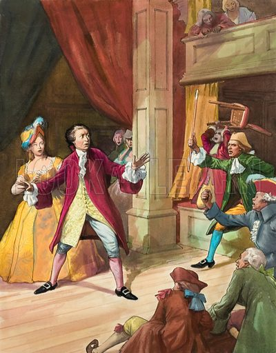 David Garrick, facing a riot by theatre goers.  Original artwork for illustration on p22 of Look and Learn issue no 201 (20 November 1965).
