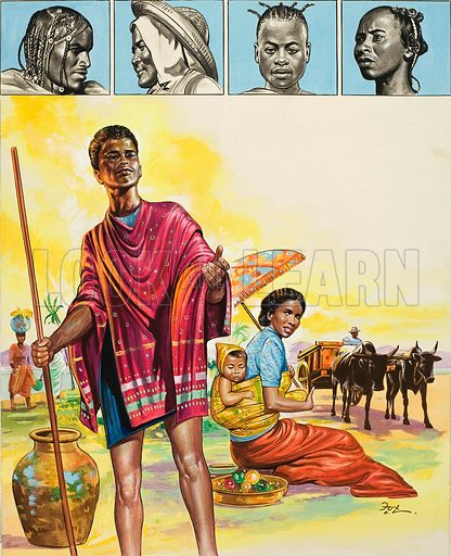 Malagasy, the name given to the native people of the island of Madagascar.  The Malagasy people include many tribes, mainly of Negro, Arab and Asian stock.  Original artwork for illustration on p3 of Treasure issue no 238 (5 August 1967).