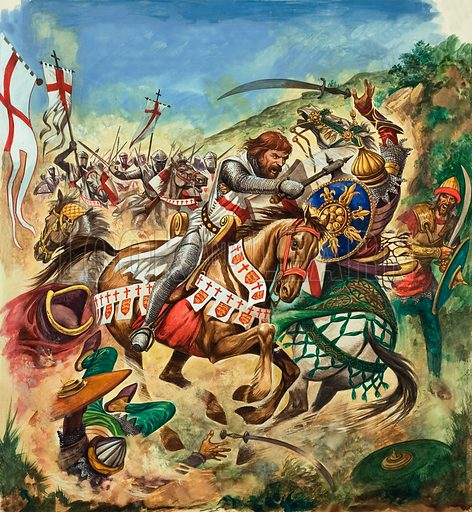 King Richard I of England fighting Saladin and the Saracens in the Holy Land on the Third Crusade, 1191–1192. Original artwork for illustration on p16 of Treasure issue no 167 (26 March 1966).