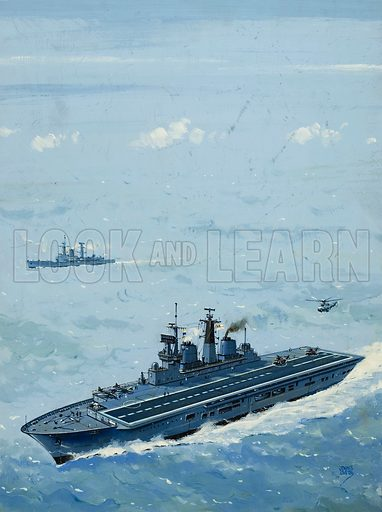 HMS Invincible.  One of the Royal Navy's aircraft carriers, with 19,500 tons displacement and ability to carry 15 aircraft.  Original artwork for illustration on p7 of Look and Learn issue no 1026 (7 November 1981).