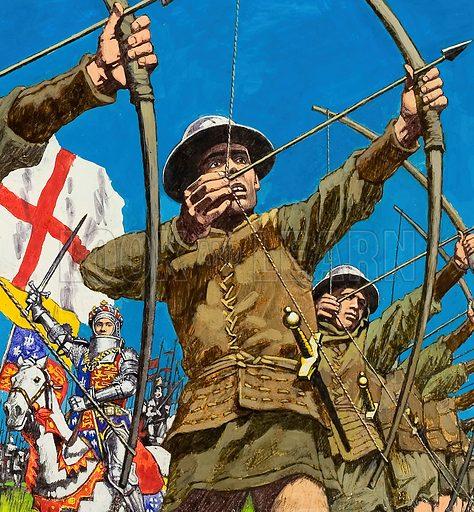 English Bowmen at Agincourt.  Original artwork for cover of Treasure no 416 (2 January 1975).