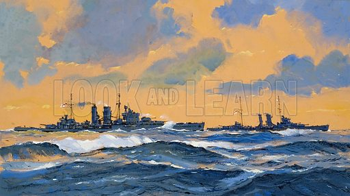 Exeter and York.  As World War II began, the British cruisers, Exeter and York, were hunting down the German ship Bremen which had sailed from New York in an attempt to return to Germany.  Original artwork for illustration on p18 of Look and Learn issue no 863 (29 July 1978).
