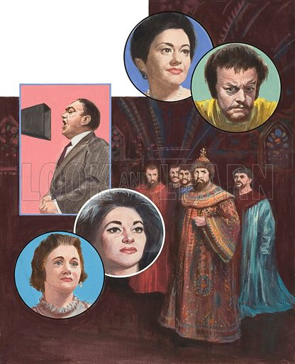World-famous Opera Singers, including Gwyneth Jones (top left), Tito Gobi (top right), Enrico Caruso (top left with microphone), Joan Sutherland (bottom left), Maria Callas (middle of bottom row), with Feodara Chaliapin, as the Tsar Boris Gudunov.  Original artwork for illustration on p15 of Look and Learn issue no 323 (23 March 1968).
