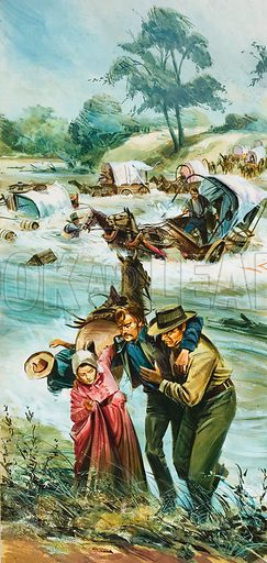 Arkansas River. In the early 1880s, long before the temperamental Arkansas river was tamed, pioneers on their way West risked life and limb fording the swirling waters. Original artwork for illustration on p12 of Look and Learn issue no 562 (21 October 1972).