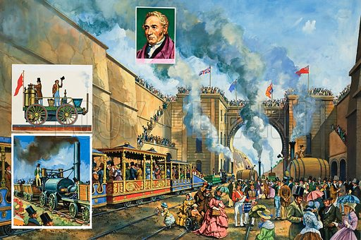 Opening of the Liverpool and Manchester Railway.  George Stephenson (see portrait in inset) prepared to drive the train which carried the Duke of Wellington on the inaugural run of the Liverpool and Manchester Railway.  The Wapping Cutting, shown in the picture, was one of the many great engineering feats carried out on the line.  The left inset shows two competitors defeated by George Stephenson's Rocket in the Rainhill trials: Novelty (top) and Timothy Hackworth's Sans Pareil.  Original artwork for illustration on pp16-17 of Look and Learn issue no 967 (20 September 1980).