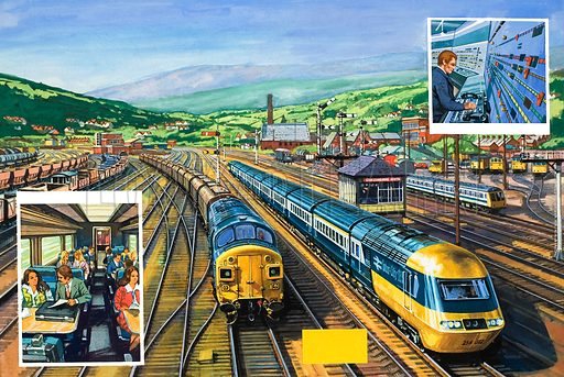 The Age of the Train. The two main trains shown are a diesel-powered Inter-City 125 and, alongside, a train of special malt containers hauled by a Class 37 diesel-electric locomotive. Small diesel units like the one that is shown on the far right are used on local services. The left inset shows passengers travelling in comfort on a Inter-City train; the right inset shows a modern signal box. Original artwork for illustration on pp16–17 of Look and Learn issue no 976 (22 November 1980).