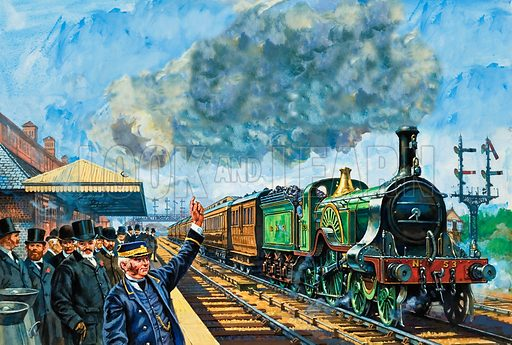 """Railway Rivalry. Passengers wait for a local train as a Great Northern express thunders through, drawn by one of the famous Stirling """"singles""""."""