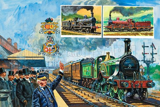 "Railway Rivalry.  Passengers wait for a local train as a Great Northern express thunders through, drawn by one of the famous Stirling ""singles"".  The picture also shows the badges of the Great Northern (top) and Midland Railways.  The insets show the London and North Western Precedent Class locomotive (left) and a Kirtley freight engine, with its three pairs of driving wheels, in the red Midland livery.  Original artwork for illustration on pp16-17 of Look and Learn issue no 971 (18 October 1980)."