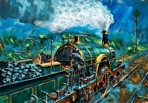 """All Clear Ahead for Sultan. The green disc signal gives the """"all clear"""" for a Great Western train hauled by Sultan, one of Gooch's Iron Duke locomotives, built in the middle of the 19th century. The driver and firemen had no shelter from the weather."""