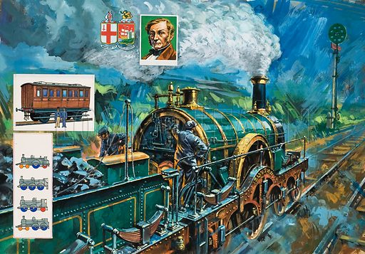 "All Clear Ahead.  The green disc signal gives the ""all clear"" for a Great Western train hauled by Sultan, one of Gooch's Iron Duke locomotives, built in the middle of the 19th century.  The driver and firemen had no shelter from the weather.  Top inset shows portrait of Daniel Gooch.  Other insets show a first class coach of the Midland Railway in the 1850s, and details of a locomotive's wheel code.  Original artwork for illustration on pp12-13 of Look and Learn issue no 970 (11 October 1980)."