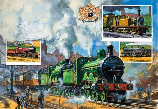 Bigger and Faster.  The large picture shows a Great Northern express leaving King's Cross.  Top right inset shows a terrier class tank locomotive, and the inset underneath the London and North Western's superheated George V.  The left inset shows a Midland Railway Johnson 4-4-0 introduced in 1902.  Original artwork for illustration on pp16-17 of Look and Learn issue no 972 (25 October 1980).