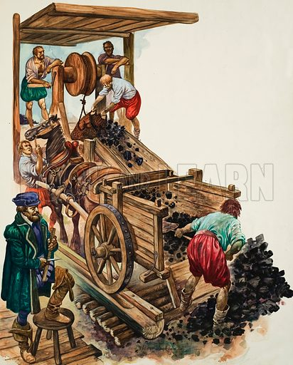 Coal Mining. A tallyman notches up how many loads of coal leave the mine as a miner fills a cart and others hoist more to the surface.  Original artwork for illustration on p18 of Treasure issue no 103.