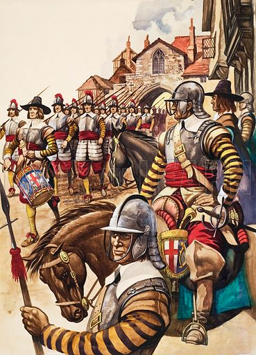 New Model Army.  A group of pikemen of the New Model Army march into battle led by a drummer.  Original artwork for illustration on p21 of Treasure issue no 117.