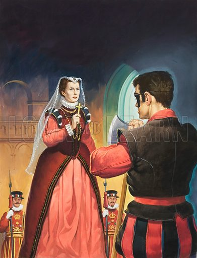 Execution of Mary Queen of Scots.  Original artwork for Look and Learn (issue yet to be identified).