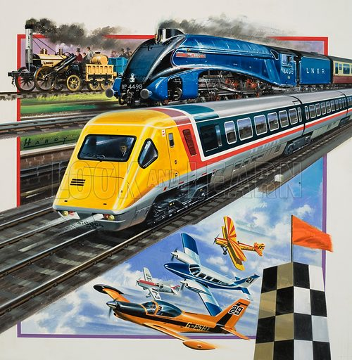 Rail and Flight.  Original artwork for cover of Look and Learn issue no 967 (20 September 1980) illustrating Britain's railway wonders and the King's Cup Challenge.