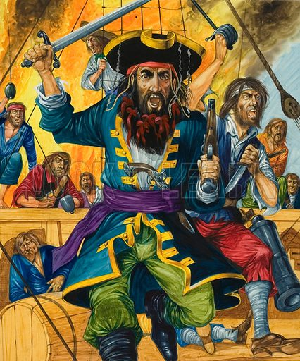 Blackbeard, notorious English pirate of the 18th Century. Original artwork for illustration on p16 of Treasure issue no 414 (19  December 1970).