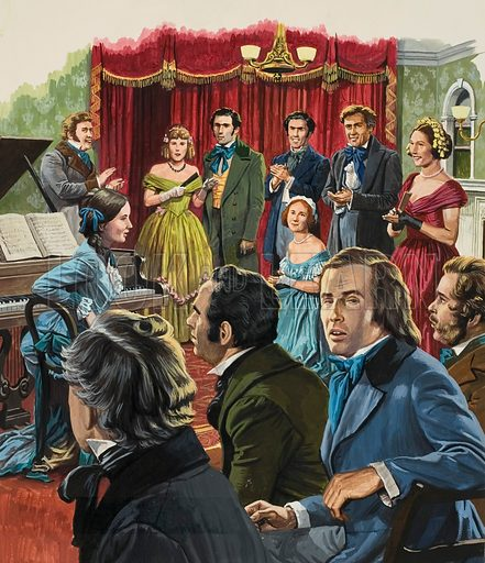 Robert Schumann. The concert audience cheered an applauded the young girl, Clara, who had performed so brilliantly on the piano. But the composer of the music she had just performed sat alone and unrecognised at the back of the room. Original artwork for illustration on p15 of Look and Learn issue no 1036 (16 January 1982).