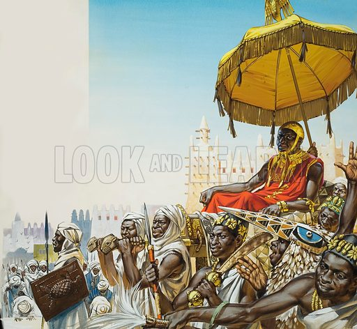 Mansa Musa (c1280-c1337), ruler of the Islamic Mali Empire of West Africa. Mansa Musa came to power in 1307. The cities that he built became centres of Arab culture. Here, in his capital city, Mansa Musa is borne on a litter by subject chiefs, and attended by the court poet (wearing the bird head and feathers). Original artwork for illustration on pp4–5 of Look and Learn issue no 329 (4 May 1968).