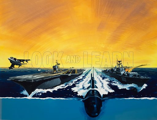 Warships and submarine.  Original artwork for Look and Learn (issue yet to be identified).