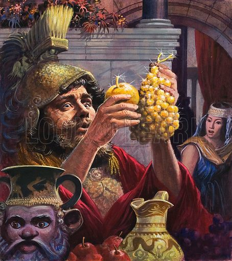 King Midas.  Original artwork for cover of Look and Learn (issue yet to be identified).