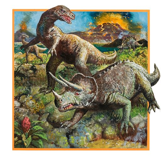 Dinosaurs, with volcano. Original artwork for cover of Look and Learn issue no 902 (5 May 1979).