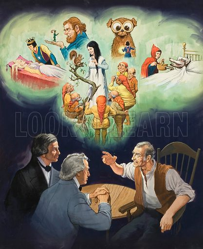 The Brothers Grimm.  Original artwork for Look and Learn (issue yet to be identified).