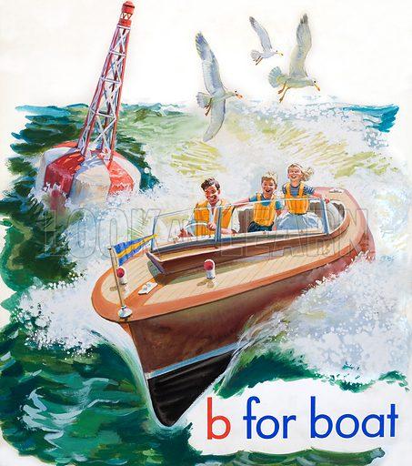 """b"" for Boat.  Original artwork for cover of Treasure issue no 3 (2 February 1963)."