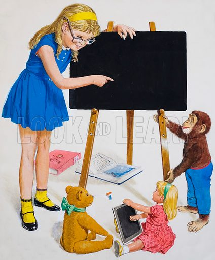 Girl with Blackboard. Original artwork for back cover of Treasure issue no 44 (16 November 1963).