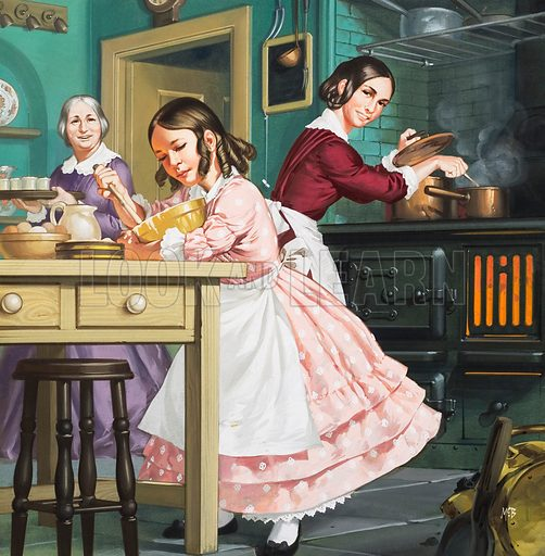 """Take 800 Eggs ..."" Portrait of Mrs Beeton as a child (Isabella May Mayson). She became the author of the best-selling Mrs Beeton's Book of Household Management.   Original artwork for cover of Look and Learn issue no 389 (28 June 1969)."