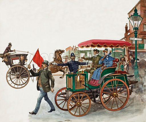 Early Car, with Man with a Red Flag.  Original artwork for Treasure.
