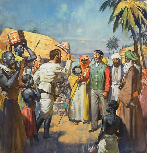 """""""Dr Livingstone, I presume …"""", explorer Henry Morton Stanley greeting the missing Scottish missionary David Livingstone at Ujiji, Central Africa, 1871. Original artwork for cover of Look and Learn issue no 130 (11 July 1964)."""
