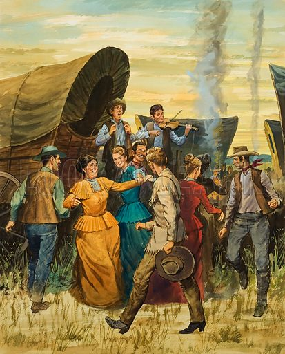 American pioneers on a wagon train to the West performing a square dance. Original artwork for illustration on p5 of Look and Learn issue no 348 (14 September 1968).
