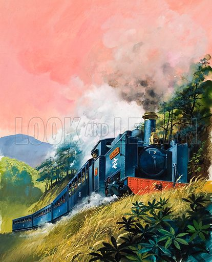 All Aboard for Devil's Bridge.  British Rail's steam-operated line, the Vale of Rheidol Railway, which runs from Aberystwyth to Devil's Bridge.  Original artwork for cover of Look and Learn issue no 1008 (4 July 1981).