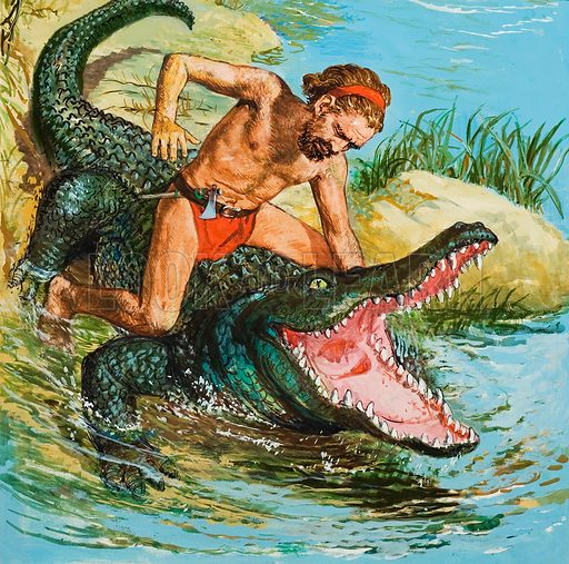 Louis, the Desert Island Castaway, Attacking a Crocodile.  Original artwork for cover of Look and Learn issue no 458 (24 October 1970).