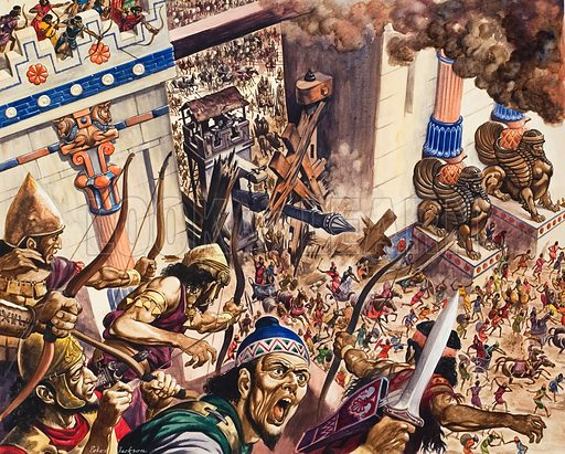 587BC Jerusalem is Destroyed.  The mighty arnies of Nebuchadnezzar razed the city, and the once proud and powerful kingdom of David and Solomon came finally to an end.  Original artwork for illustration on pp12-13 of The Bible Story issue no 2 (14 March 1964).