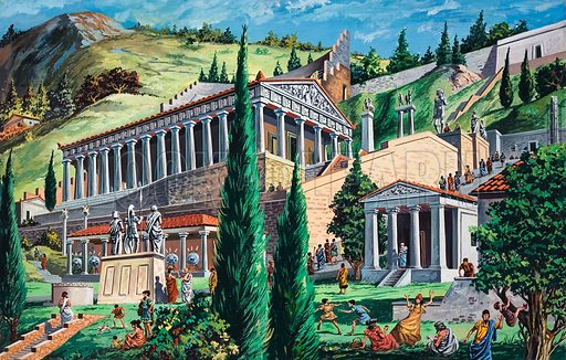 The Temple of Appollo at Delphi. Original artwork for illustration on pp14–15 of Look and Learn issue no 429 (4 April 1970).