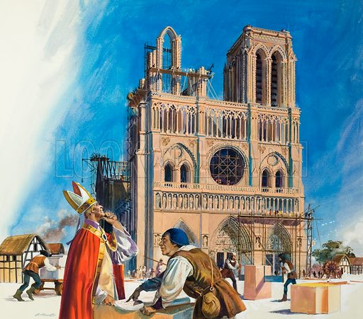 Abbot Suger and the Building of the Abbey of St Denis (probably).  Original artwork for Look and Learn (issue yet to be identified).