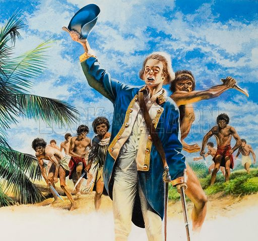 The End of James Cook, explorer, scientist and and sailor on 14 February 1779.  Original artwork for illustration on pp4-5 of Look and Learn issue no 422 (14 February 1970).