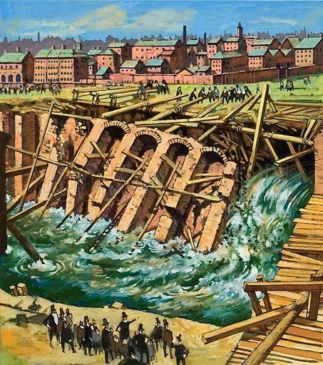 Construction of First Underground Railway showing when the River Fleet burst through the cutting's brick wall.