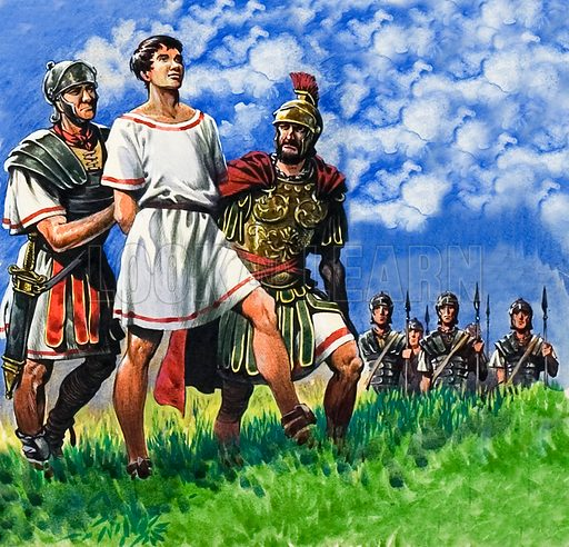 Young Briton arrested by Roman soldiers.